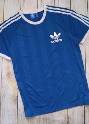 Футболка adidas с лампасами синяя l под vintage адидас