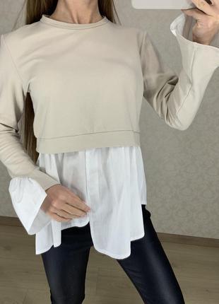 Бежевый свитшот с подшитой рубашкой misspap