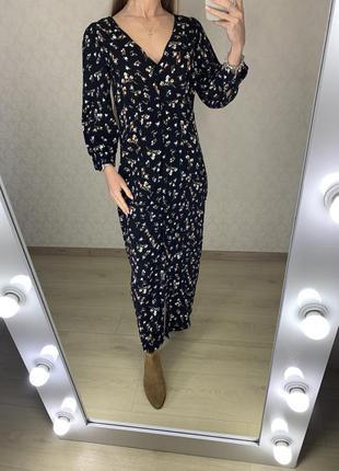 Платье миди в мелкий цветочек на пуговицах amisu