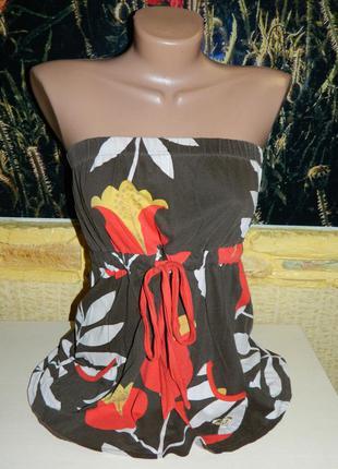 Майка женская коричневая с цветами бюстье на резинке р, 44-46 ...