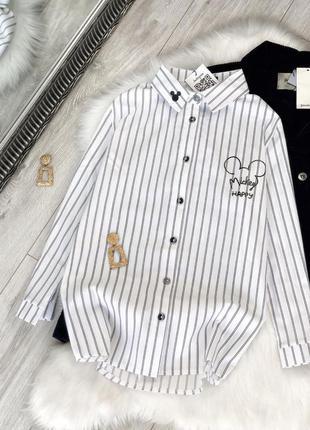 Модная рубашка в полоску с микки