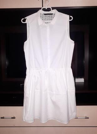Летнее белое коттоновое платье с перфорацией zara раз.l