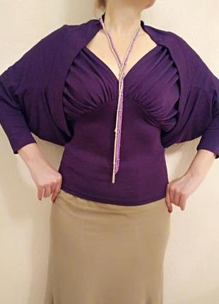 Комплект цвета фуксии: блуза и кофта