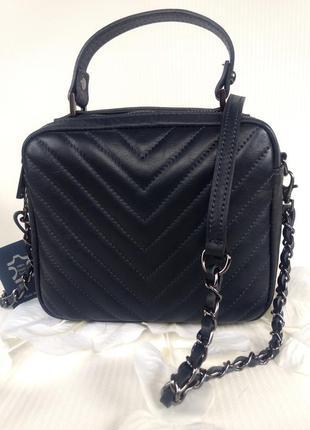 Кожаная сумочка-кроссбоди vera pelle италия тёмно-синяя