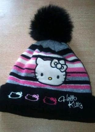 Детская шапочка Hello Kitty, акриловая шапка с помпоном Hello...