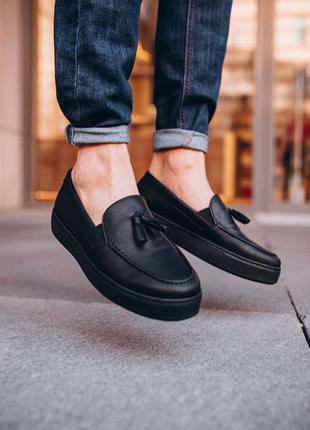 Мужские кроссовки лоферы чёрные без бренда ♦ весна лето осень