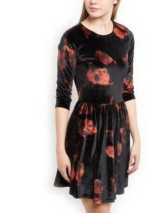 Велюровое платье р.xs/s new look стрейч бархат, цветочный принт