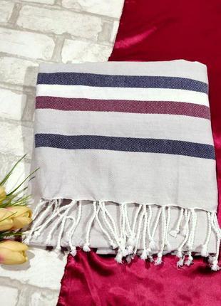 Пештемаль - полотенце плед для сауны пляжа с бахромой хлопоков...