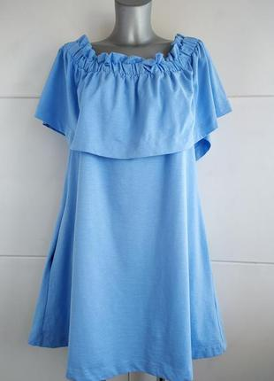 Красивое платье-сарафан h&m голубого цвета с карманами