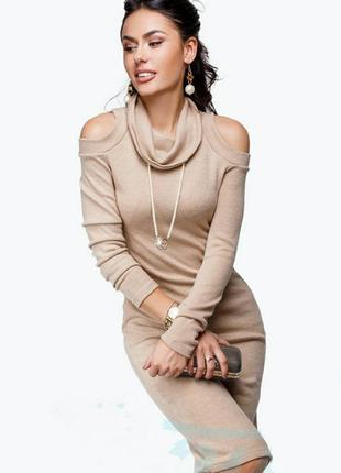 #розвантажуюсь вязаное трикотажное платье миди бежевое с проре...
