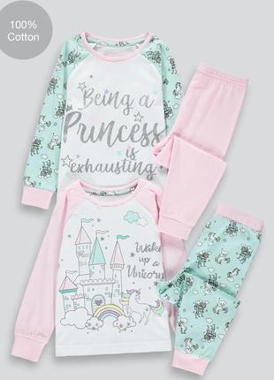 Комплект хлопковых пижам на девочку matalan