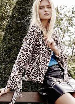Очень стильная леопардовая косуха с бахромой