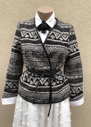 Новый жакет,пиджак,куртка,кардиган на запах с кожаной окантовк...