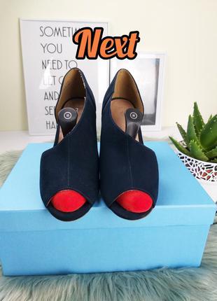 #расхламляюсь next 38/24.5 синие туфли с асиметричным вырезом