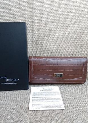 Кожаный кошелёк клатч access denied.