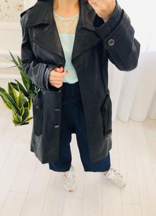 Кожаный тренч пальто плащ из натуральной кожи брендовый mauritius