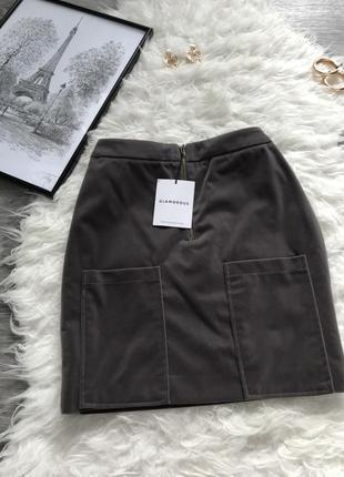 Стильная новая велюр юбка серого цвета велюровая юбка новая с ...