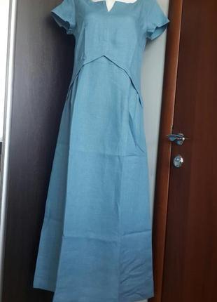 Летнее платье из льна season в стиле бохо цвет лунный камень
