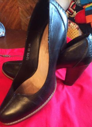 Черные туфли, натуральная кожа, big rope