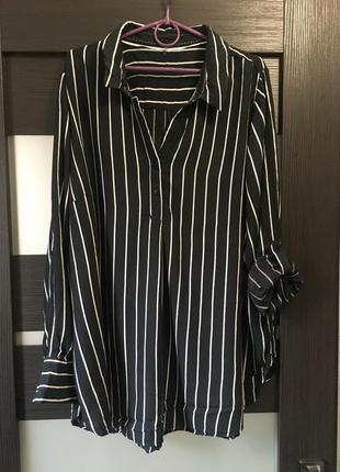 Стильная блуза оверсайз туника платье черно белая в полоску бо...