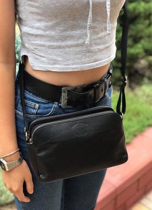 Женская кожаная итальянская сумка через плечо vera pelle чёрна...