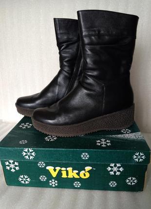 Р 39-40 26 см черные кожаные сапоги на меху зимние новые украи...