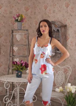Стильная женская пижама с бриджами. шелковая пижама бриджи и м...