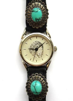 Out west designs часы из сша кожа с бирюзой мех. japan niyota