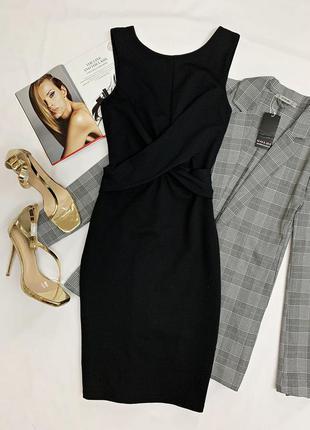 Приталенное черное платье topshop