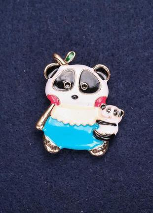 Брошь панда эмаль