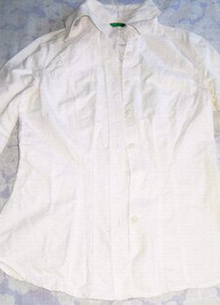 Белая блуза, блузка, рубашка на пуговицах United Colors