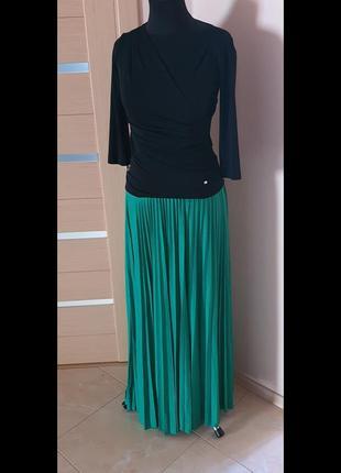 Зеленая юбка плиссе, maxmara, размер 46/48