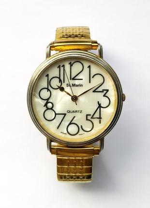 St.marin часы из сша с крупным циферблатом механизм japan sii