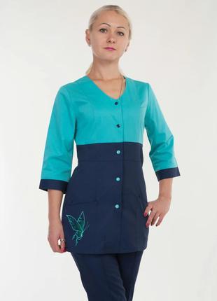 Женский медицинский 2-цветный костюм