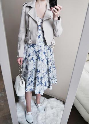Вінтажна міді сукня в квітковий принт / хлопок вискоза / миди ...