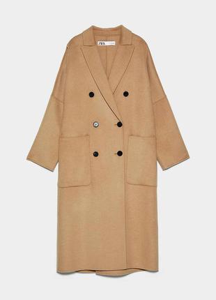 Пальто двубортное шерстяное  zara (oversize)