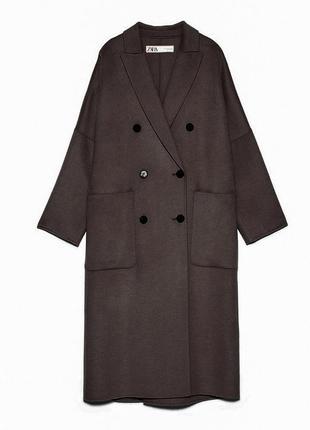 Пальто двубортное шерстяное оверсайз zara