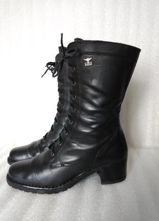 Р 39-40 26 см стильные черные кожаные высокие ботинки сапоги н...