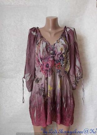Новая лёгкая шифоновая пляжная туника/пляжное платье в цветах,...