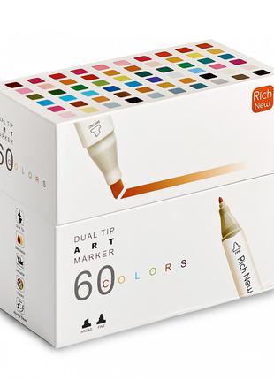 Набор двусторонних маркеров Rich New  на спиртовой основе 60 шт