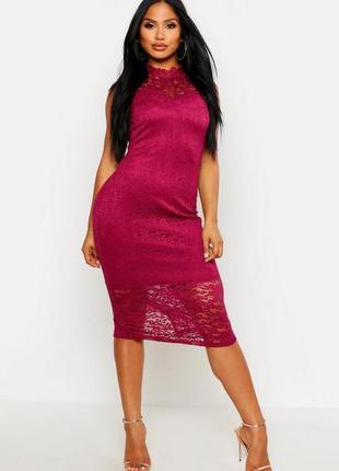 Boohoo. boutique.товар из англии.кружевное платье в цвете бург...