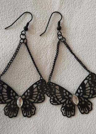 Серьги черные ажурные бабочки