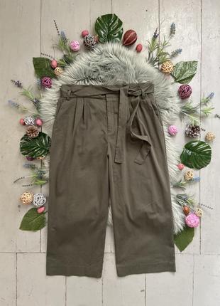 Актуальные широкие брюки кюлоты с поясом №421