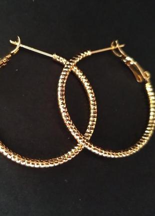 Серьги-кольца спиральные d.30mm, xuping, ювелирная бижутерия, ...
