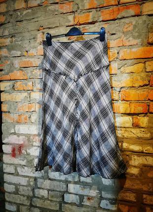 Льняная юбка миди в клетку расклешенная лен с бахромой per una