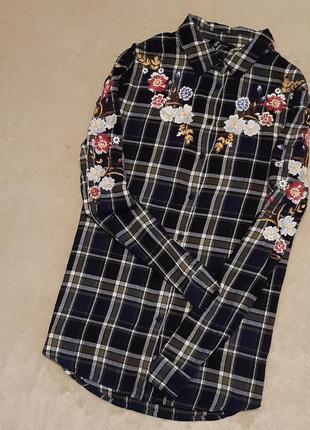 Рубашка в клетку с вышивкой размер 14 new look