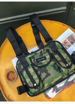 Нагрудная сумка броник разгрузка комуфляжная хип хоп стиль