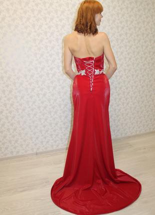 Вечернее платье в пол красное рыбка голубое в пайетки