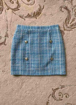 Голубая юбка в стиле chanel, новая!