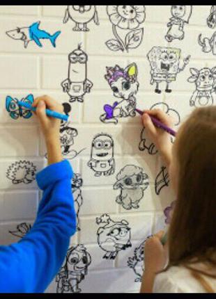 Самоклеющаяся декоративная развивающая детская 3D панель-раскраск